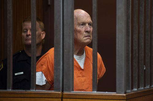 Joseph James DeAngelo sat stony-faced in the dock behind thick steel bars during his latest court appearance. Picture: AP