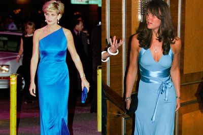 Both women  bare shoulders in aqua blue gowns.