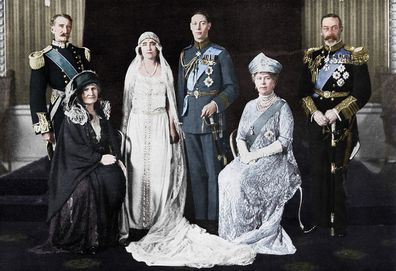 The wedding of the Duke of York and Lady Elizabeth Bowes-Lyon, 1923. The bride and bridegroom and their parents. The Earl and Countess of Strathmore, the Duchess and Duke of York, and King George V and Queen Mary.