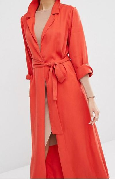 "Kendall &amp; Kylie duster coat, $287 at <a href=""http://www.asos.com/au/kendall-kylie/kendall-kylie-duster-coat/prd/6988624?iid=6988624&amp;channelref=product%20search&amp;affid=11148&amp;ppcadref=187239762