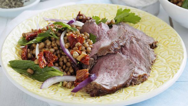 Weight watchers' barbecued beef with lentil salad