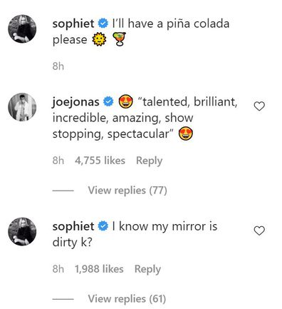 Joe Jonas, Sophie Turner, Instagram comment exchange