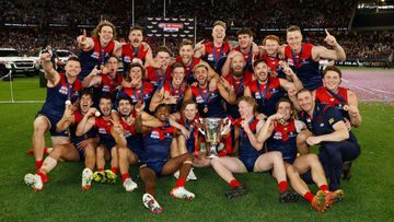 PERTH, AUSTRALIA - SEPTEMBER 25: The Demons celebrates after the 2021 Toyota AFL Grand Final match between the Melbourne Demons and the Western Bulldogs at Optus Stadium on September 25, 2021 in Perth, Australia. (Photo by Michael Willson/AFL Photos)