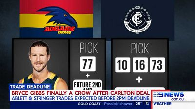 AFL Trade Period: Bryce Gibbs headed to Adelaide Crows as Carlton agree to trade
