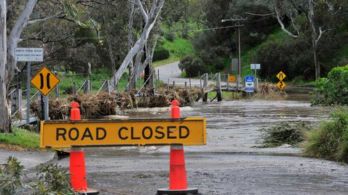 Flooding in the town of Tanunda, the Barossa Valley. The storms are gone but flood risks remain for many South Australians battered by this week's severe weather. (AAP)