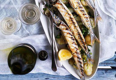 Grilled garfish with potato salad