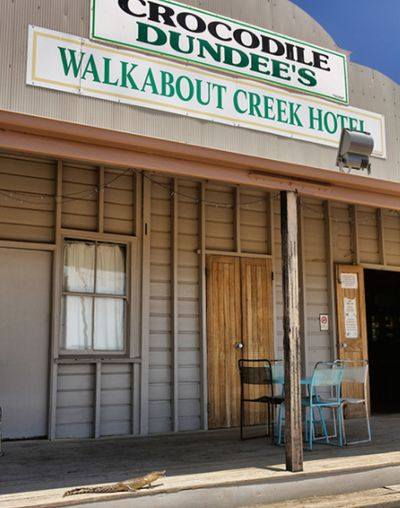 He stopped by a key landmark in crocodile history - the Walkabout Creek Hotel made famous in <em>Crocodile Dundee</em>.