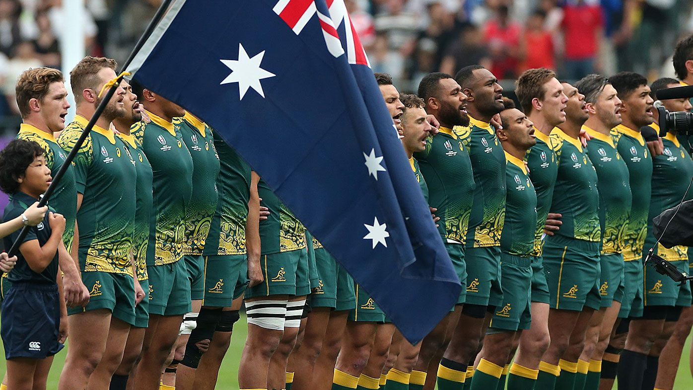 Australian players line up for the national anthem prior to the Rugby World Cup 2019