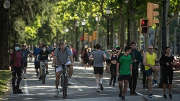 People exercise outdoors on May 02, 2020 in Barcelona, Spain