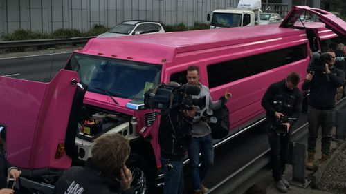'The Block' crew cause traffic mayhem in Melbourne in a pink Hummer