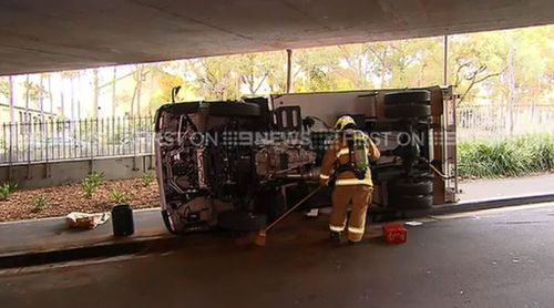 FRNSW cleaned up a diesel spill at the scene. (9NEWS)