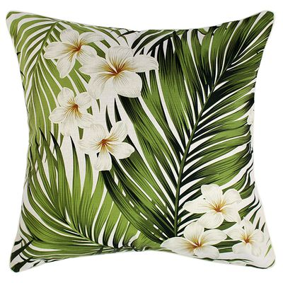 """Outdoor cushions with frangipani leaves $79.95,<a href=""""http://www.escapetoparadise.com.au/tropical-range/"""" target=""""_blank"""">Escape to Paradise</a>."""