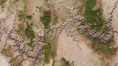 From space, the Grand Canyon looks like a treacherous crack across Earth's surface.