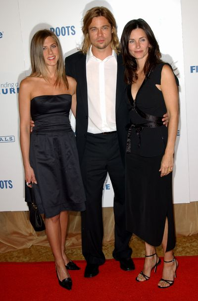 Jennifer Aniston with then husband Brad Pitt and Courteney Cox in Los Angeles at Project A.L.S Friends Finding A Cure Gala, 2003