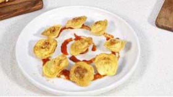 Ravioli pasta crisped in the air fryer