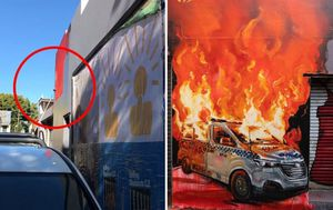 Black Lives Matter: TJ Hickey tribute mural of NSW Police van on fire painted over