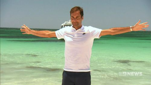 The Swiss tennis star said it was his second trip to the island. (9NEWS)