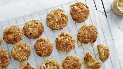 """Recipe:&nbsp;<a href=""""http://kitchen.nine.com.au/2016/12/14/13/43/bacon-and-peanut-butter-cookies"""" target=""""_top"""" draggable=""""false"""">Bacon and peanut butter cookies</a>"""