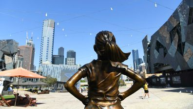 'Fearless Girl' in Federation Square.