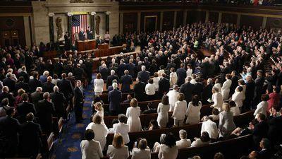 Donald Trump speaks to Congress. (AAP)