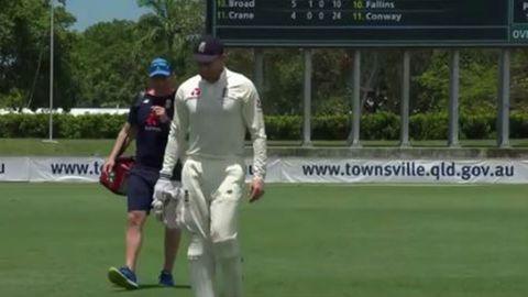 Jonny Bairstow is forced to leave the field.
