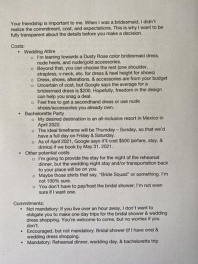 Bride-to-be's two-page list of bridesmaid requirements divides TikTok