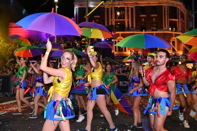 Marchers garbed in all the colours of the rainbow. (AAP)