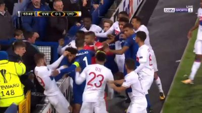 Europa League: Everton fan holding toddler hits Lyon goalkeeper as players fight