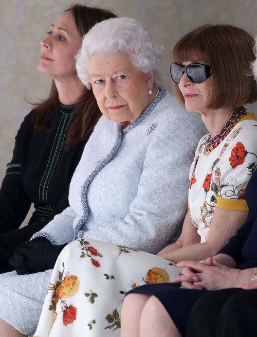 The Queen wore a pale blue wool tweed Angela Kelly suit. (Getty)