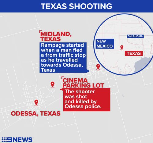 The shootings took place between Midland and Odessa in Texas.
