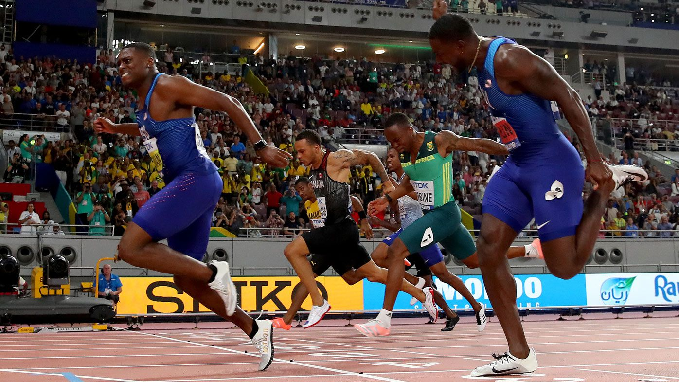 Christian Coleman scorches to 100m gold in 9.76sec, after missing doping tests