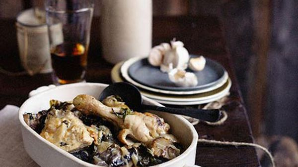 Chicken braised in beer with mushrooms