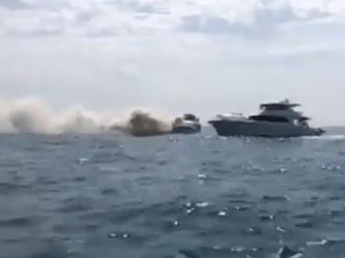 Footage of a boat that burst into flames travelling from Perth.