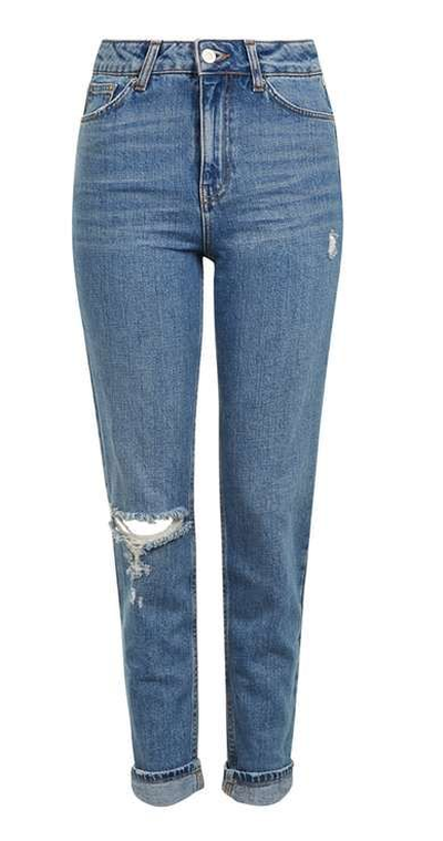 "<a href=""https://au.topshop.com/moto-rip-mom-jeans-in-mid-blue.html"" target=""_blank"">Topshop MOTO Rip Mom Jeans in Mid Blue, $94.95.</a>"