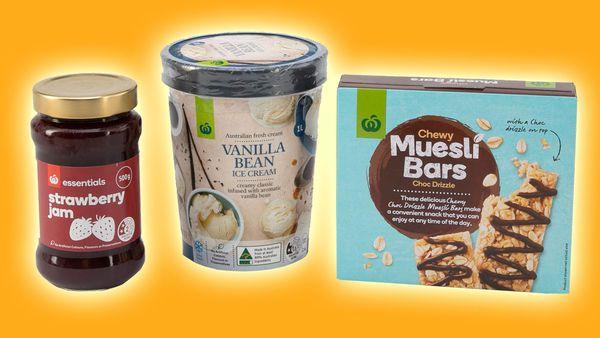 Woolworths home brand jam, ice cream, muesli bars