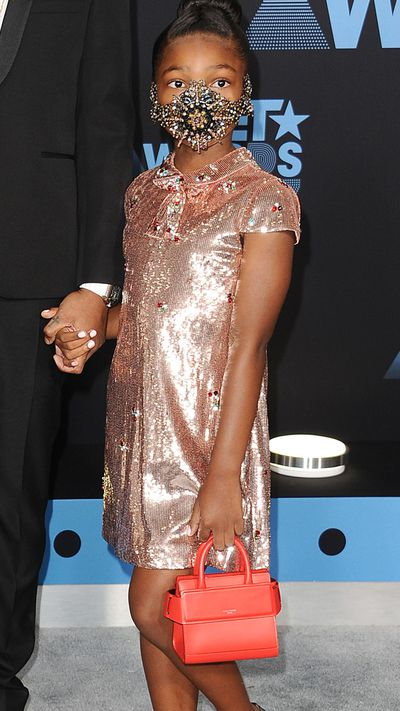 The masked 8-year-old Londyn Wilburn hit the red carpet with her father Future at the Bet Awards 2017, Los Angeles.