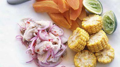 """Recipe:<a href=""""http://kitchen.nine.com.au/2016/05/17/15/28/peruvian-flounder-ceviche"""" target=""""_top"""">Peruvian flounder ceviche</a>"""