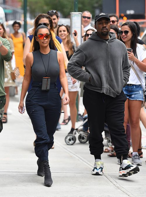 Kim Kardashian and Kanye West cause a stir on the streets of New York on Tuesday. Picture: AP
