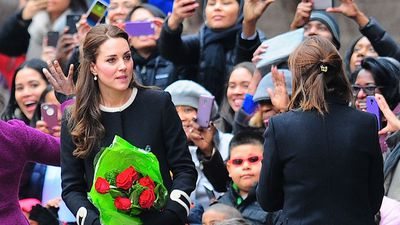 Kate was wearing a black and white trimmed coat by British label Goat when she arrived to dozens of fans. (AAP)