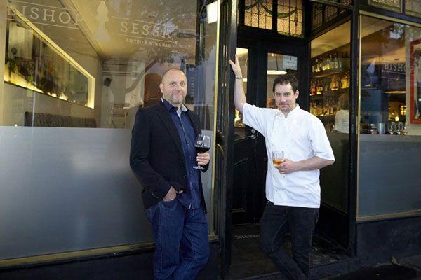 Restaurant owner Erez Gordon (left) outside his restaurant with his head chef (Supplied)