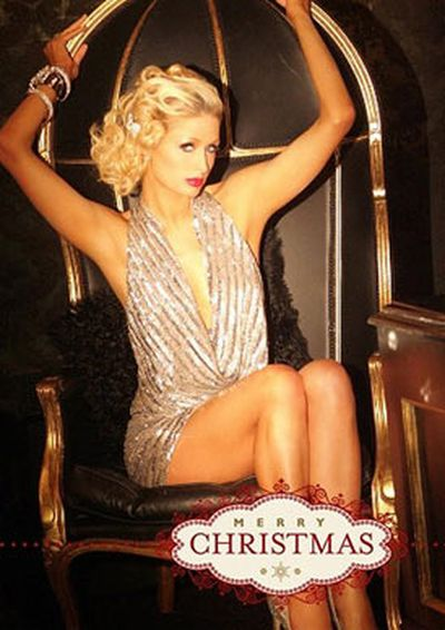 Paris Hilton's 2010 Christmas card didn't have a whole lot to do with Christmas.