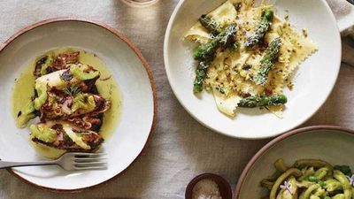 "<a href=""http://kitchen.nine.com.au/2016/11/13/19/39/freds-asparagus-ravioli-with-lemon-brown-butter-and-pistachios"" target=""_top"">Fred's asparagus ravioli with lemon, brown butter and pistachios</a> recipe"