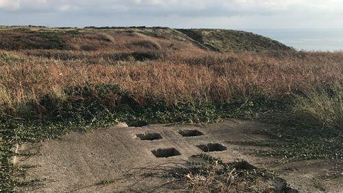 A concentration camp latrine block. (9NEWS/Seb Costello)