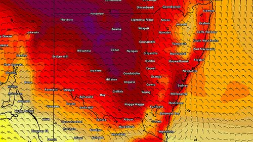 Sydney temperatures soared towards 35 degrees yesterday afternoon for the third time this week. Picture: Weatherzone.