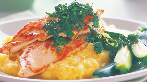 Chicken with polenta and salsa verde