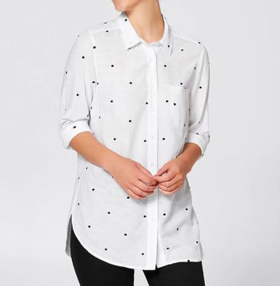 "<a href=""https://www.target.com.au/p/courtney-girlfriend-shirt-white-spot/60636126"" target=""_blank"">Courtney Girlfriend Shirt </a>- White Spot, $25"