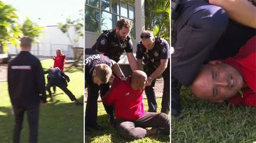 Police boss tackles man during press conference