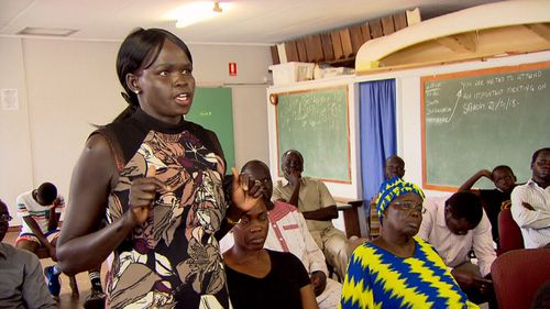 The Sudanese community meets regularly at a Toowoomba scout hall.