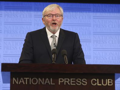 Former Prime Minister Kevin Rudd during his address to the National Press Club of Australia in Canberra