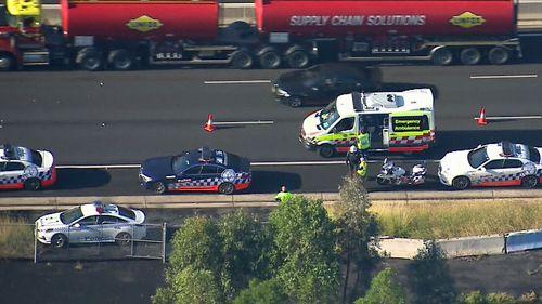 One taken to hospital after crash on Sydney's M5